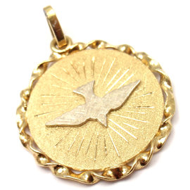 Cartier Vintage 18K Yellow & White Gold Dove Of Peace Charm Pendant