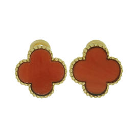 Van Cleef & Arpels Alhambra Coral Yellow Gold Clip-on Earrings