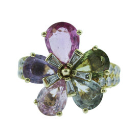 Bulgari 18K Yellow Gold Diamond & Sapphire Flower Petal Ring Size 5.5