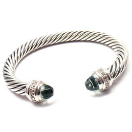 David Yurman Sterling Silver Prasiolite and Diamond Cable Cuff Bracelet
