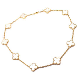 Van Cleef & Arpels 18K Yellow Gold 10 Mother Of Pearl Alhambra Necklace