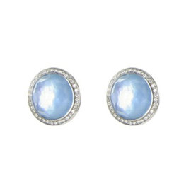 Ippolita 925 Sterling Silver Stella 0.29ct. Diamonds Swiss Blue Topaz Stud Earrings