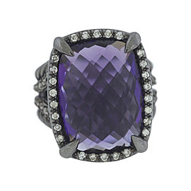 David Yurman 925 Sterling Silver with Amethyst & Diamond Chatelaine Ring Size 7