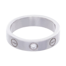 Cartier Love 18K White Gold Diamond Ring Size 3.75