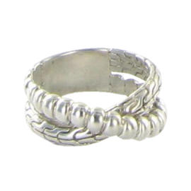 John Hardy Sterling Silver Bedeg Crossover Ring Size 7