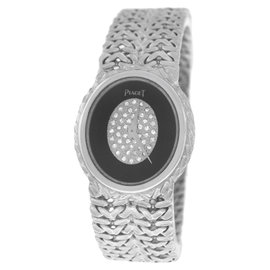Piaget 18K White Gold & Black Diamonds Dial Quartz 24mm Womens Watch