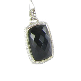 David Yurman Sterling Silver Onyx Diamond Albion Enhancer Pendant