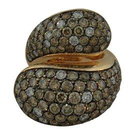 De Grisogono 18K Rose Gold Colored Diamond Stylized Snake Ring Size 6.5