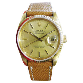 Rolex Datejust 16018 18K Yellow Gold & Leather Champagne Dial Automatic 36mm Mens Watch