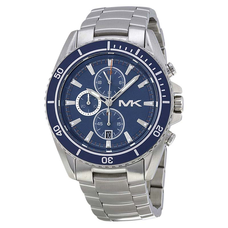"""Image of """"Michael Kors JetMaster Mk8354 Stainless Steel Blue Dial Chronograph"""""""