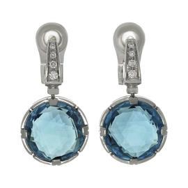 Bulgari 18K White Gold Parentesi Diamond Blue Topaz Drop Earrings