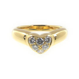 Tiffany & Co. 18k Yellow Gold Diamond Heart Ring Size 6