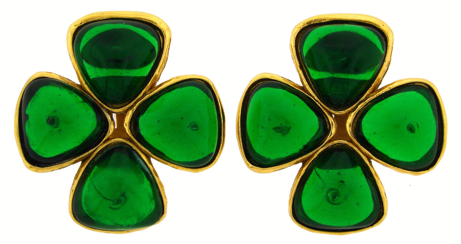 "Image of ""Chanel Gripoix Glass Vermeil Clover Clip-on Earrings"""