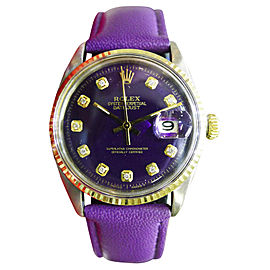 Rolex Datejust Stainless Steel & 18K Yellow Gold Purple Dial Automatic 36mm Mens Watch