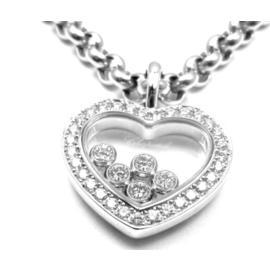 Chopard 18K White Gold Happy Diamond Heart Pendant Necklace