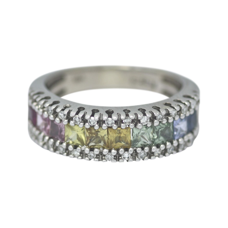 "Image of ""Effy 14K White Gold Rainbow Sapphire & Diamond Band Ring Size 5"""