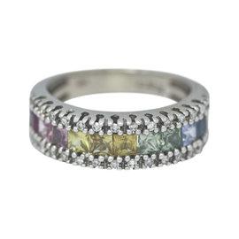 Effy 14K White Gold Rainbow Sapphire & Diamond Band Ring Size 5