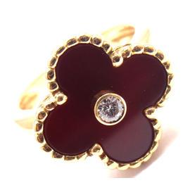 Van Cleef & Arpels Alhambra 18K Yellow Gold Diamond Carnelian Ring Size 4.5