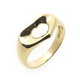 Tiffany & Co. 750 Yellow Gold Open Heart Ring Size 5