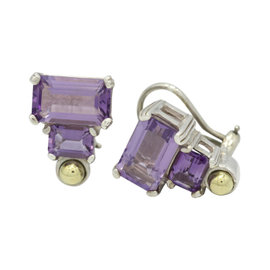 Lagos Caviar Glacier 925 Sterling Silver & 18K Yellow Gold Amethyst Earrings