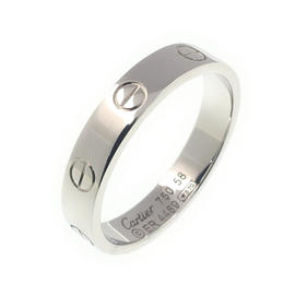 Cartier 750 White Gold Mini Love Ring Size 8.5