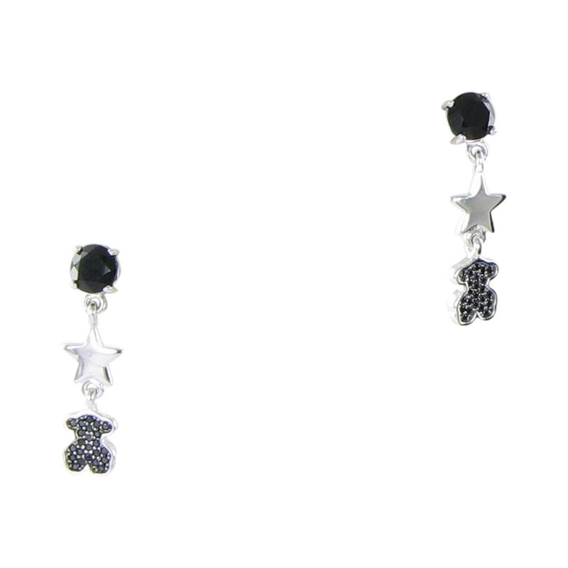 "Image of ""Tous 925 Sterling Silver Black Onyx Join Spinels Bear Drop Earrings"""