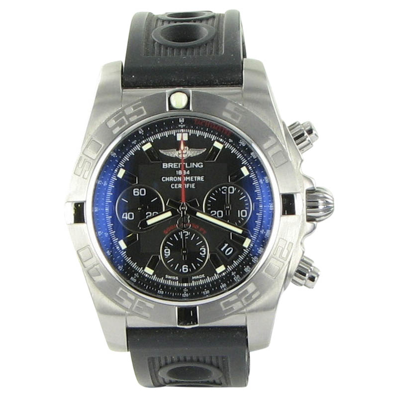 """""Breitling Chronomat Ab011010/bb08 Stainless Steel & Rubber Black Dial"""""" 1304453"