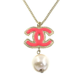 Chanel Gold Plated Coco Mark Imitation Pearl Necklace