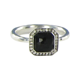 Ippolita Stella 925 Sterling Silver 0.11cts Diamond & Black Onyx Ring Size 7