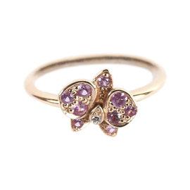 Cartier Caresse D'orchidees 18K Rose Gold Diamond Sapphire Ring Size 4.75