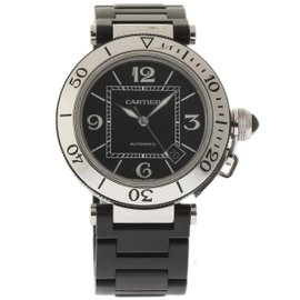 Cartier Pasha Seatimer W31077U2 Stainless Steel & Rubber Black Dial Automatic 40mm Unisex Watch