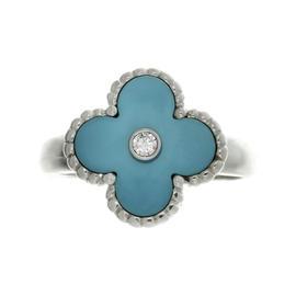 Van Cleef & Arpels 18K White Gold Alhambra Turquoise Diamond Ring Size 6.0