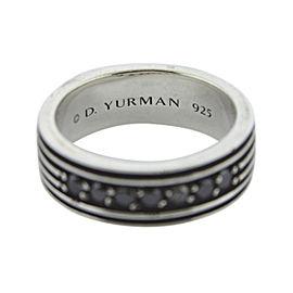 David Yurman 925 Sterling Silver Royal Cord Black Diamond Band Ring Size 9.5