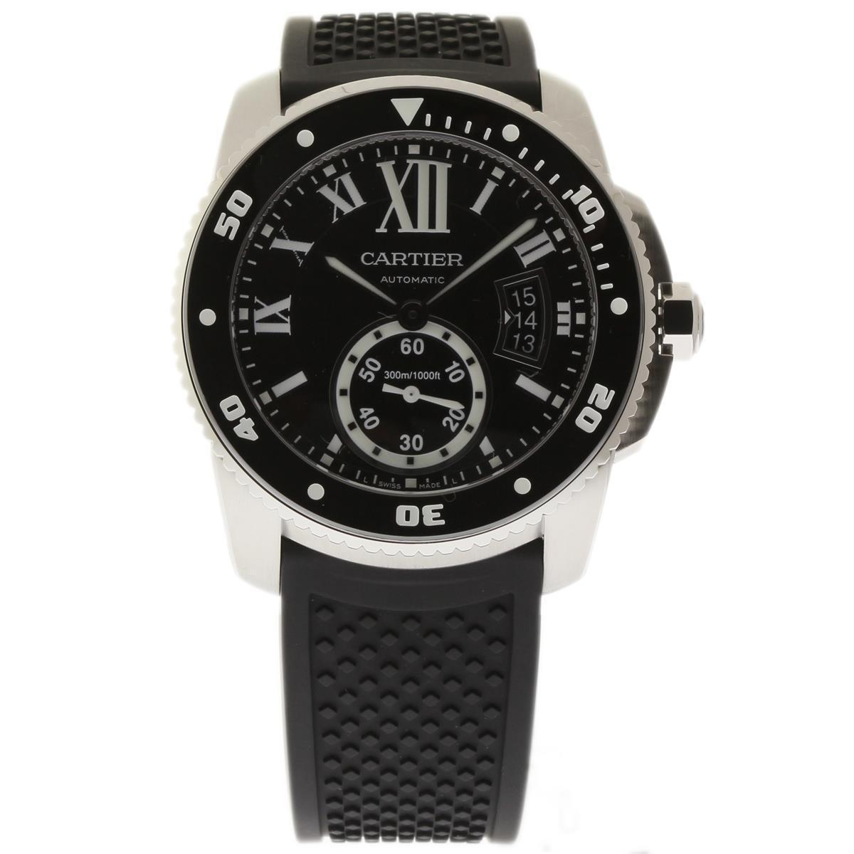 "Image of ""Cartier Calibre De W7100056 Stainless Steel & Rubber Black Dial"""