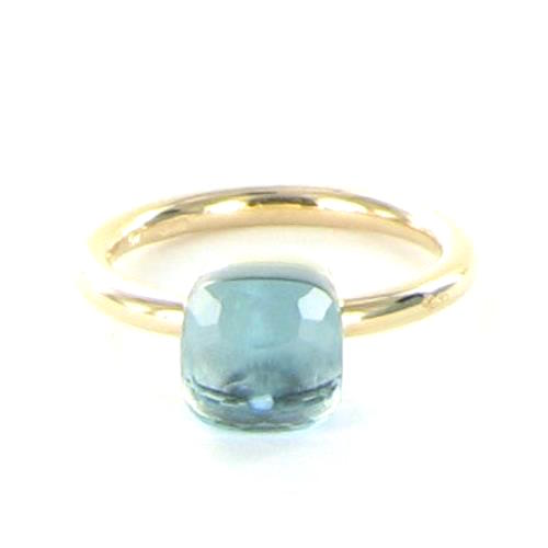 """""Pomellato 18K Rose Gold Medium Nudo Blue Topaz Ring Size 7"""""" 1417716"