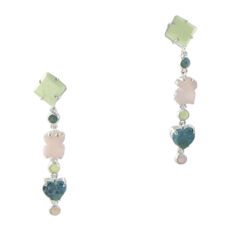 """Image of """"Tous 925 Sterling Silver, Jasper, Opal with Turquoise Earrings"""""""