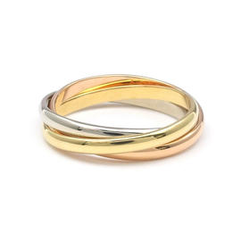 Cartier 18K Yellow, White & Rose Gold Trinity Ring Size 4.75