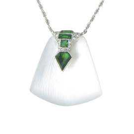 Alexis Bittar Rhodium with Emerald & Swarovski Crystals Necklace
