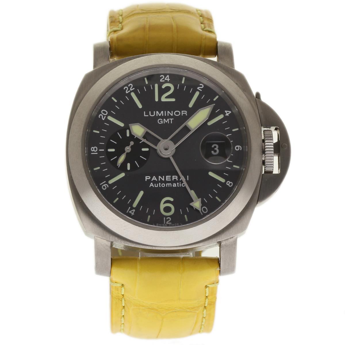 "Image of ""Panerai Luminor GMT Pam00089 Titanium / Leather 44mm Mens Watch"""