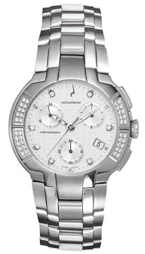 "Image of ""Bulova 26E05 White Dial Diamond Stainless Steel Chronograph 40mm Mens"""