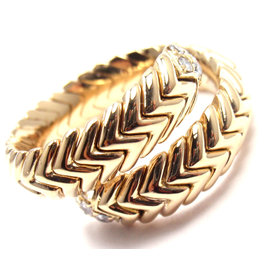 Bulgari Bvlgari Tubogas 18K Yellow Gold Diamond Coil Snake Band Ring Size 6.5