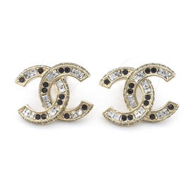 Chanel Coco Mark Champagne Gold Tone Metal Gemstone Earrings