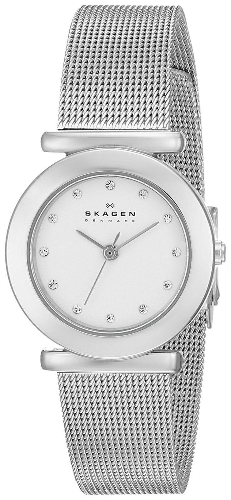 "Image of ""Skagen 107Sssd Classic White Dial Stainless Steel Mesh 25mm Womens"""