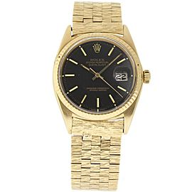 Rolex Datejust 1601 Yellow Gold & Black Dial Vintage 36mm Mens Watch