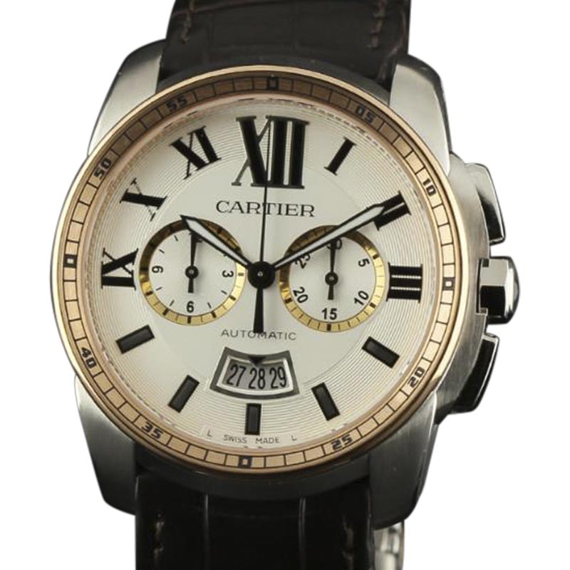 "Image of ""Cartier Calibre De W7100043 Stainless Steel/Pink Gold & Leather Silver"""