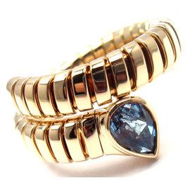 Bulgari Tubogas 18k Yellow Gold Blue Topaz Snake Band Ring Size 7-8