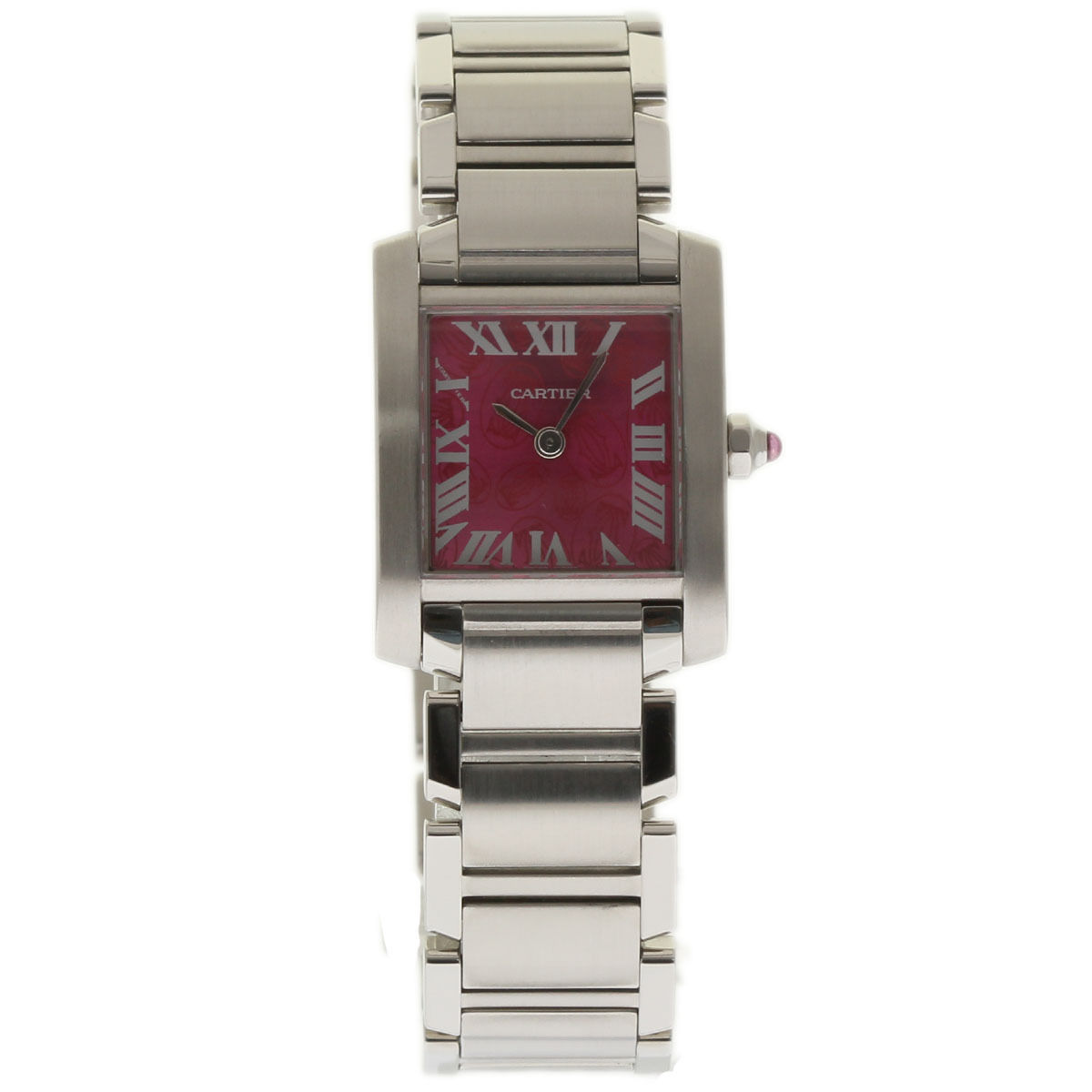 """Image of """"Cartier Tank Francaise W51030Q3 Stainless Steel Raspberry Dial Quartz"""""""