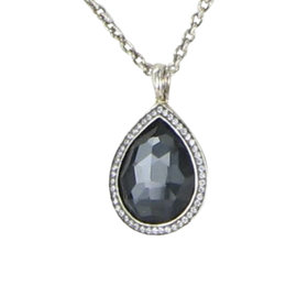Ippolita Stella 925 Sterling Silver with 0.17ct. Diamond & Hematite Quartz Teardrop Necklace