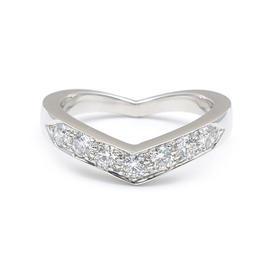 Tiffany & Co. Platinum Diamond V Band Ring Size 5-5.5