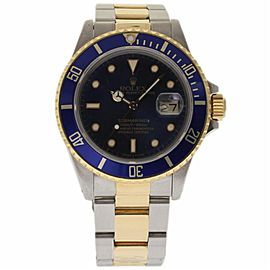 Rolex Submariner 16803 Stainless Steel & 18K Yellow Gold Blue Dial Automatic 40mm Mens Watch 1987